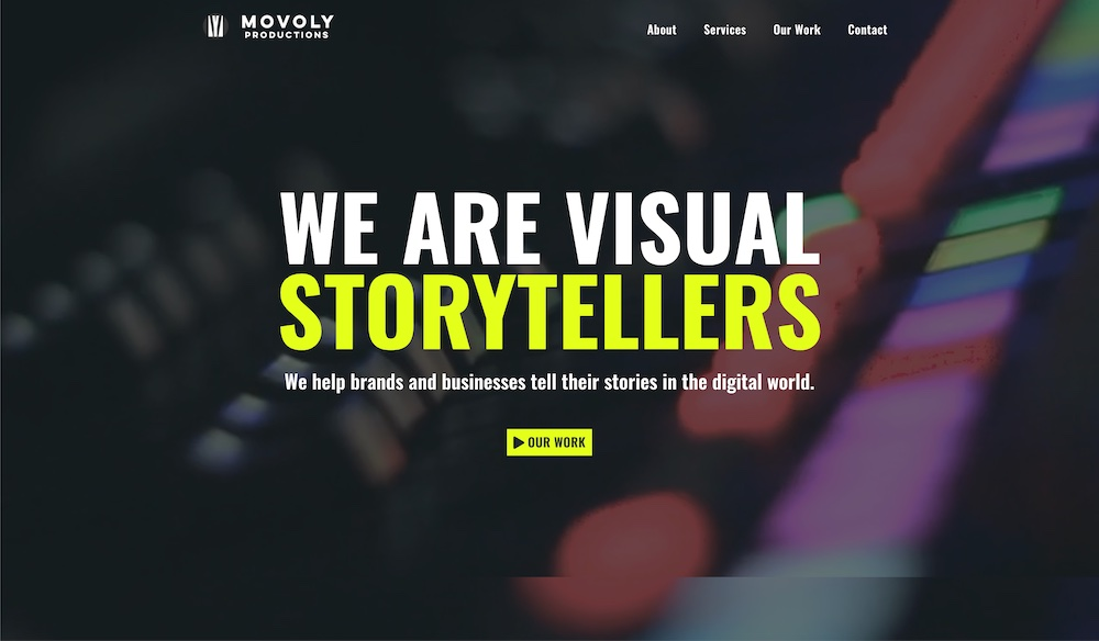 Movoly Productions Custom Web Design Hero Section